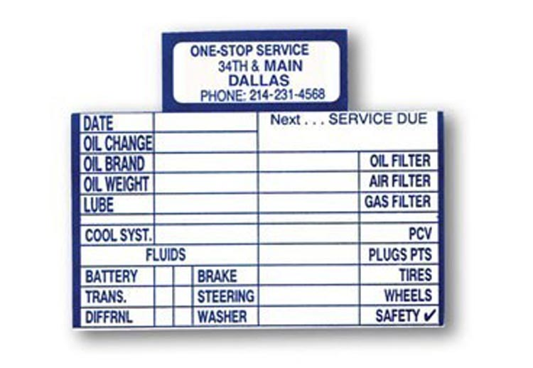 Oil Change Reminder Cards