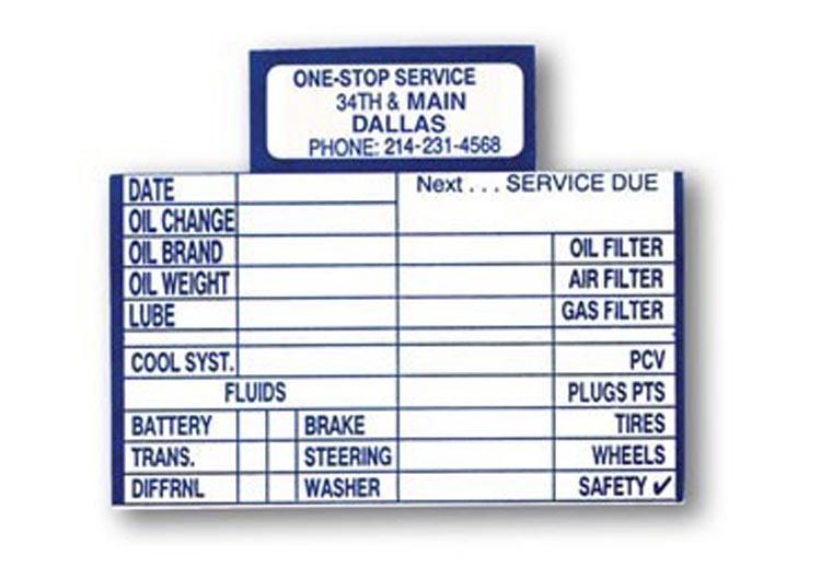 Oil Change Reminder Cards