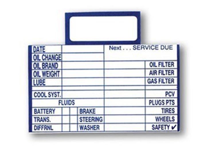Blank Oil Change Reminder Spot Card